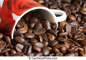 coffee beans out of a coffee cup