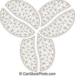 Coffee Beans Polygonal Frame Vector Mesh Illustration