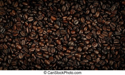 Coffee Beans Rotating Overhead Shot - Pile of coffee beans...