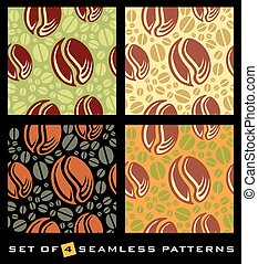 Coffee beans seamless pattern on colorful background....