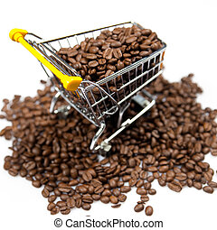 coffee beans. Shopping Cart Filled with Coffee Beans