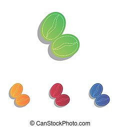 Coffee beans sign. Colorfull applique icons set.