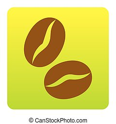 Coffee beans sign. Vector. Brown icon at green-yellow gradient square with rounded corners on white background. Isolated.
