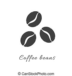 Coffee beans simple flat icon. Vector logo symbol coffee ...