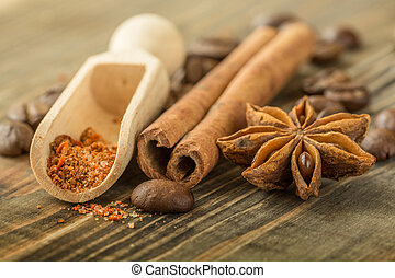 Coffee Beans Spices Cinnamon Cloves Star Anise Wooden