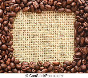coffee beans square frame on sacking