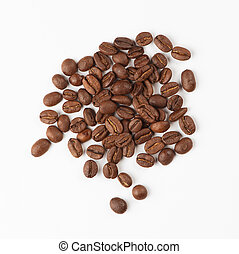 Coffee beans top view. Isolated on a white background