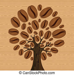 Coffee Beans tree - Coffee tree over wood seamless pattern. ...
