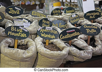 Coffee Beans Variety of Flavors in a Shop