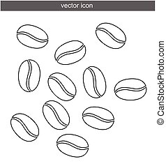 Coffee beans vector isolated on white background flat in black eps 10