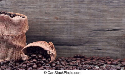 Coffee Beans - A dolly shot of a sack of coffee beans.