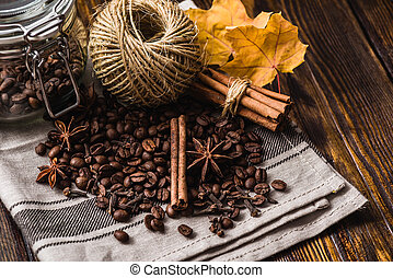 Coffee Beans with Autumn Leaves