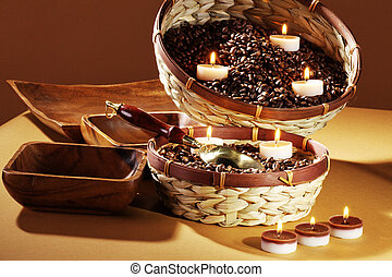 coffee beans with candles