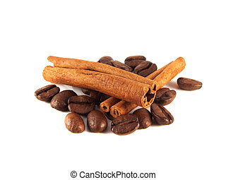 Coffee beans with cinnamon pods on white