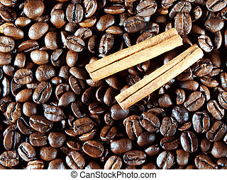 Coffee beans with cinnamon pods