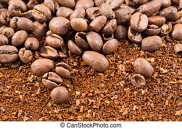 coffee beans with coffee powder 2