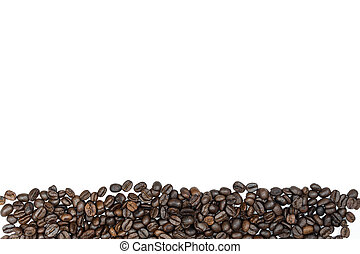 Coffee beans with copy space on isolated white