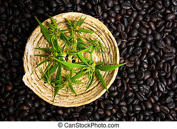 Coffee beans with marijuana leaves background