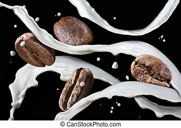 Coffee beans with milk splash isolated on black