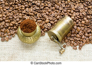 Coffee Beans with mill