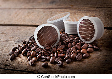 Coffee beans with pods.