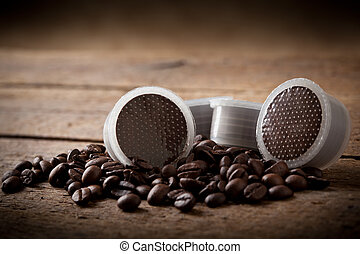 Coffee beans with pods