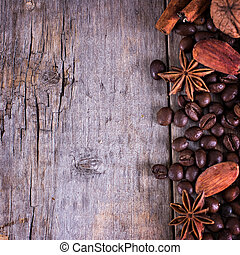 Coffee beans with spices