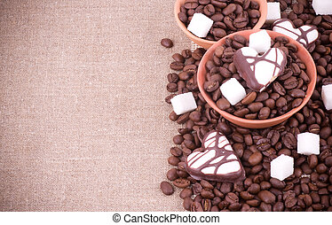 Coffee beans with sugar