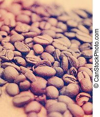 Coffee beans with vintage effect
