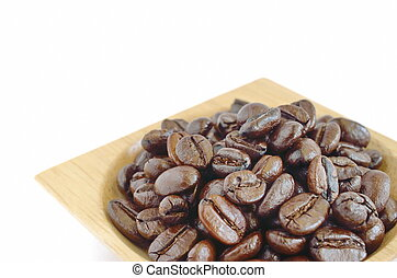 Coffee beans with wooden cup isolated on white background