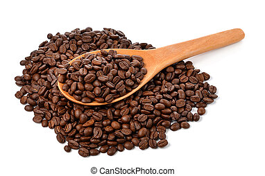coffee beans with wooden spoon isolated on white background