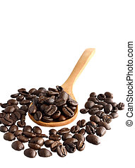 Coffee beans with wooden spoon on white