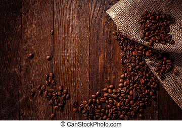 coffee beans wooden background
