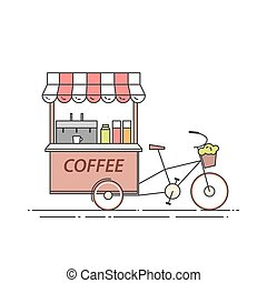 Coffee bicycle. Cart on wheels. Food and drink kiosk . Vector illustration. Flat line art.