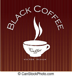 Coffee - Black coffee seal over brown background vector...