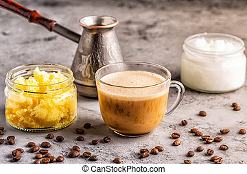 Coffee blended with ghee butter and MCT coconut oil, paleo, keto, ketogenic drink breakfast.