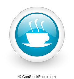 coffee blue circle glossy web icon on white background
