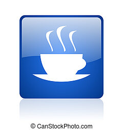 coffee blue square glossy web icon on white background