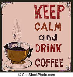 coffee., boisson, garder, poster:, vecteur, calme, illustration.