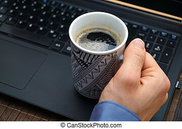 coffee break at work for relaxation