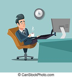 Coffee Break. Businessman Relaxing at Office Work. Vector Character illustration
