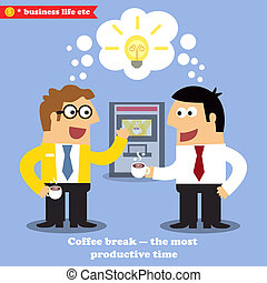 Coffee break for collaboration and idea sharing vector illustration