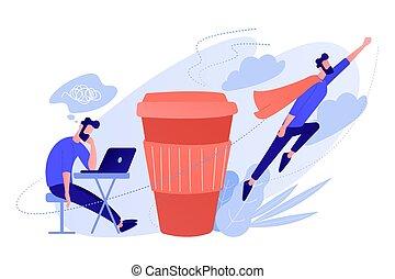 Coffee break concept vector illustration. - A man sitting...