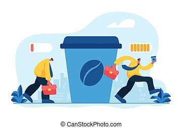 Coffee break concept vector illustration - Depressed office...