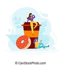 Coffee break concept with tiny people, cup and donut in flat style. Good morning illustration for cafe card, menu, print. Creative lunch vector poster