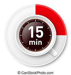 Cup of coffee with time limit for break: fiiteen minutes. Illustration on white background.