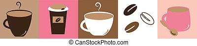Coffee Break - Cute pink and brown coffee mugs cups