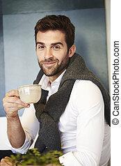 Coffee break for guy