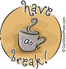 Coffee Break - Icon Illustration Featuring a Hot Mug of...