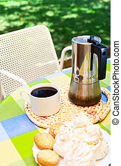 Coffee break in Sardinia - Coffee cup with moka pot and...